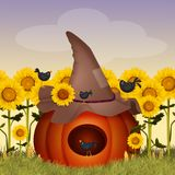 Crows eat pumpkin. Illustration of crows eat pumpkin Royalty Free Illustration