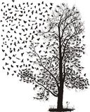 Crows fly away from the tree. Vector illustration of the crows on the tree and in the air Royalty Free Stock Photo