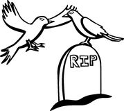 Crows flying in a cemetery vector illustration Stock Photos