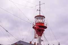 The crows nest and light beacon of a light ship, designed to act royalty free stock photography