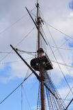 Crows Nest on the Mast of a Old Frigate Royalty Free Stock Image