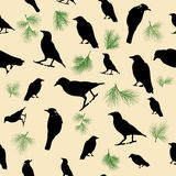 Crows and Pines Seamless Pattern. A seamless pattern with crows and pines Stock Illustration