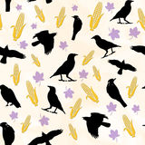 Crows Seamless Pattern. A seamless pattern of crows corn and leaves Vector Illustration