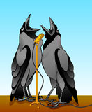 Crows singing. Two crows singing into a microphone, illustration, on the background of the sky, at the foot of the crow precious ring Royalty Free Illustration