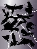 Crows in a storm. Simple shapes evoke a murder of crows in a storm Stock Illustration