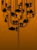 Crows in a stylized tree. A murder of scary crows perch in a strange tree Vector Illustration