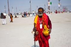 Croyant indou sur le Kumbh Mela Photographie stock