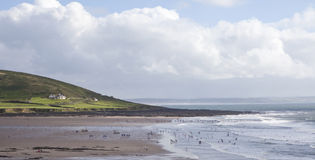 Croyde Bay. View of croyde bay beach and surf Stock Photos