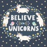 Croyez en carte mignonne de licornes illustration de vecteur