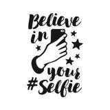 Croyez en votre affiche drôle de selfie Illustration de vintage de vecteur illustration de vecteur