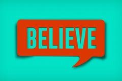 Croyez la bulle des textes Image libre de droits