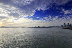 Crépuscule de plate-forme de visionnement de Yanwu Photos stock