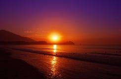Crépuscule en mer Images libres de droits