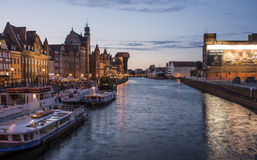 Crépuscule sur le motlawa Danzig Pologne l'Europe Image libre de droits