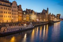 Crépuscule sur le motlawa Danzig Pologne l'Europe Photos libres de droits