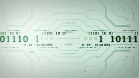 Córregos de dados binários Lite verde video estoque