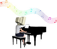 CRT Computer Playing Piano Illustration. An old CRT monitor playing piano Stock Images