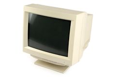 Crt monitor. Isolated old computer crt monitor Royalty Free Stock Photos