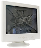 CRT monitor cutout. Broken CRT computer monitor isolated with clipping path Stock Images