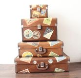 Four Suitcases countries stamps old Capital City Sao Paulo Brazil stock photo