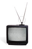 CRT television receivor with antenna Royalty Free Stock Image