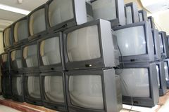 Crt tv in warehouse Stock Photos