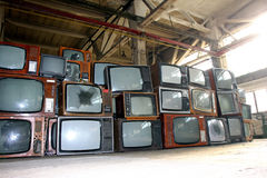 Crt tv in warehouse Royalty Free Stock Images