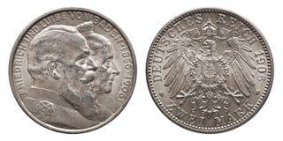 Cru allemand 1906 de pièce en argent de mark de Baden 2 d'empire images libres de droits