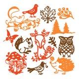 Cru coupé de papier Forest Animals Set de silhouette illustration de vecteur