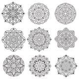 Cru de couleur de noir de mandala de fleur décoratif illustration libre de droits