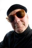 cru de suglasses d'homme français de chapeau de béret rétro images stock