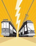 Cru et train moderne de tramway de tramway Photographie stock libre de droits