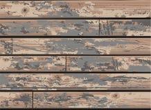 Cru Grey Wooden Wall Background avec le vieux bois de construction affligé illustration libre de droits