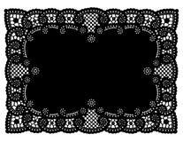 cru noir de place de couvre-tapis de lacet de napperon Photographie stock libre de droits
