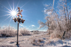 Cruce ferroviario congelado Foto de archivo