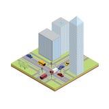 Cruce isométrico en ciudad Stock de ilustración