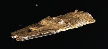 Crucero de batalla del espacio desde arriba Imagenes de archivo