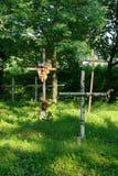 Cruces de madera en cementerio viejo Imagen de archivo