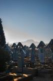 Cruces de madera pintadas en el feliz cementerio de Sapinta, Rumania Imagen de archivo