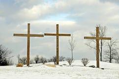Cruces en nieve imagenes de archivo