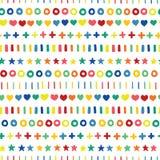 Cruces y rayas exhaustas de los círculos de los corazones de las estrellas de la mano en colores del arco iris en fila Formas geo stock de ilustración