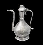 Cruche argentée de l'antique, d'isolement sur le fond noir Photographie stock libre de droits