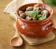 Cruche avec des champignons Image stock