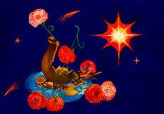Cruche cassée, les fleurs et les étoiles dans le ciel Espoirs irréalistes d'allégorie illustration libre de droits