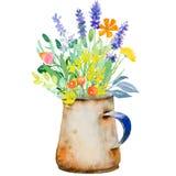 Cruche d'aquarelle avec des fleurs Images stock