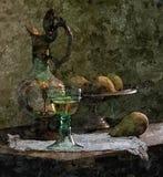 Cruche de jeune vin, poires Encore-durée rustique Aquarelle humide de peinture sur le papier Art naïf Aquarelle de dessin sur le  illustration libre de droits
