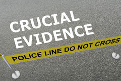 Crucial Evidence concept. 3D illustration of CRUCIAL EVIDENCE title on the ground in a police arena Royalty Free Stock Photo