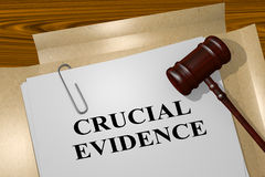 Crucial Evidence concept. 3D illustration of CRUCIAL EVIDENCE title on legal document Stock Image