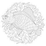 Crucian estilizado com bolhas e algas ilustração royalty free