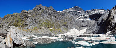 Crucible Lake in Mount Aspiring national park, New Zealand. Crucible Lake in Mount Aspiring national park, scenery from Gillespie Pass Circuit, New Zealand royalty free stock image